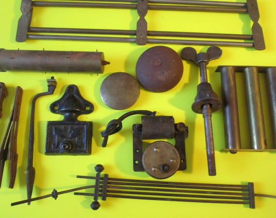 "12 Large Antique Clock Parts and Tools - Solid Brass and Steel for your Clock Projects, Steampunk Art and Etc... 4 3/8"" and 3 1/8"""