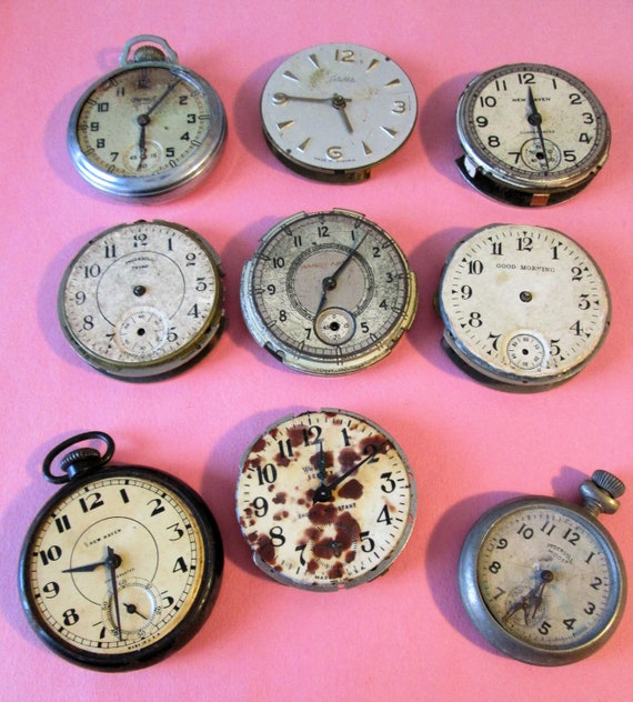 9 Assorted Antique & Vintage Partial Pocket Watches for your Watch Projects, Steampunk Art, Jewelry Crafts and Etc...