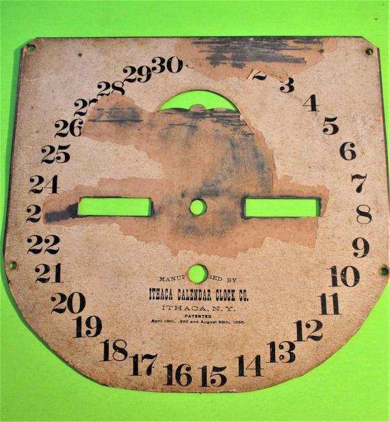 Funky Ithaca Calendar Clock Co. Calendar Clock Dial - Paper on a Solid Brass Pan Stk# 134