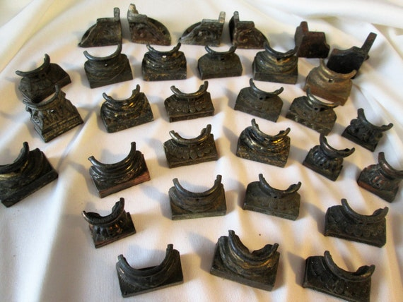 30 Assorted Antique Cast Metal Mantle Clock Feet for your Clock Projects - Steampunk Art - Metalwork