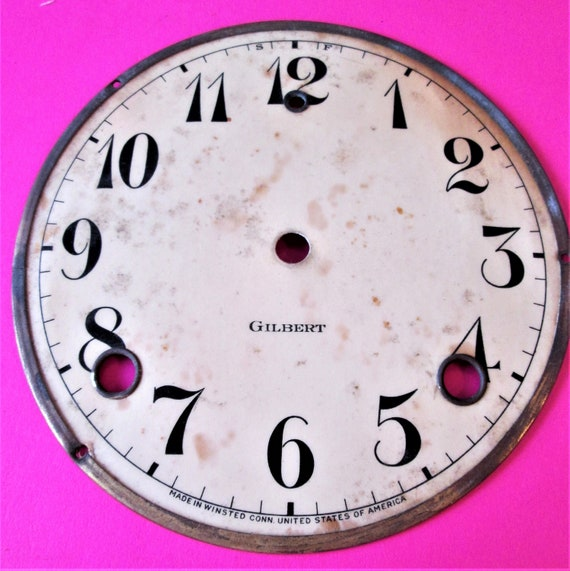 """5 1/2"""" Old Gilbert Paper on Tin Clock Dial with 5/8"""" Numerals for your Clock Projects & Etc.. Stk#200"""
