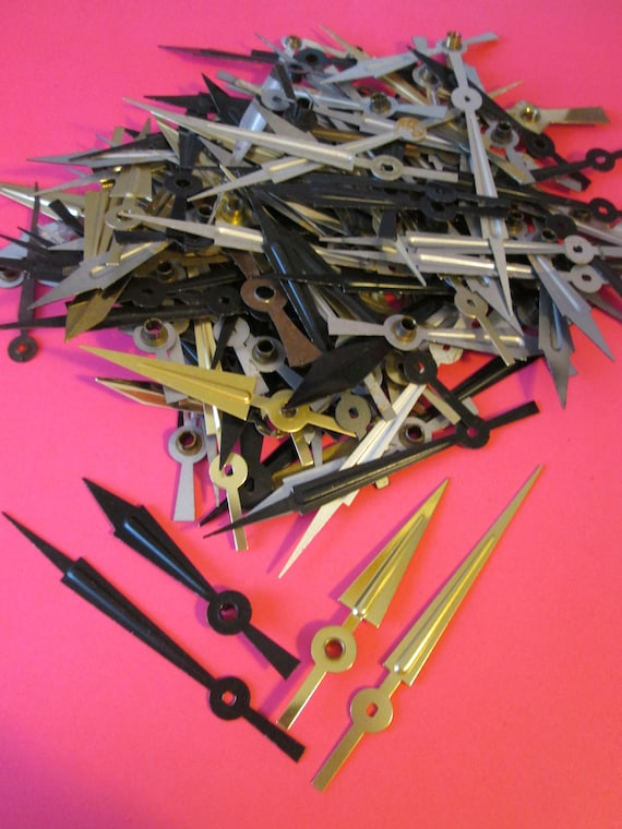 42 Pairs of Black Sword Design and 17 Pairs of Brass Colored Clock Hands for Clock Projects, Jewelry Making, Steampunk Art & Etc Stk#690