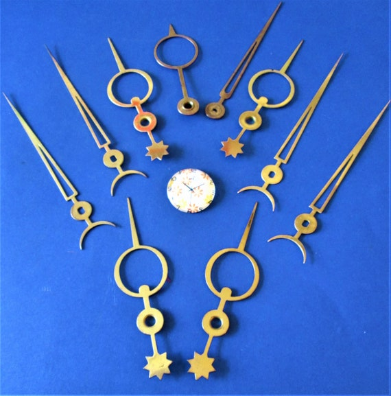 5 Pairs of Vintage Solid Brass Moon & Star Clock Hands for your Clock Projects - Art - Stk# 667