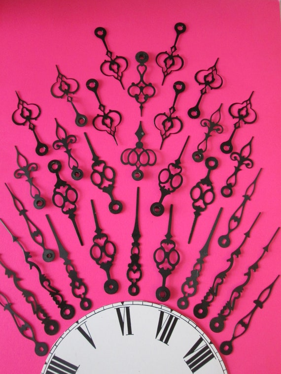 32 Assorted Vintage Fancy Black Painted Mixed Metals Clock Hands for your Clock Projects, Steampunk Art, Jewelry Making and Etc..