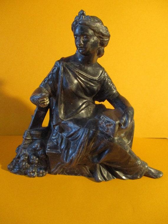 "Beautiful Vintage 7 3/4"" Dark Gray Cast Metal Sitting Lady Clock Topper/Art Statue"