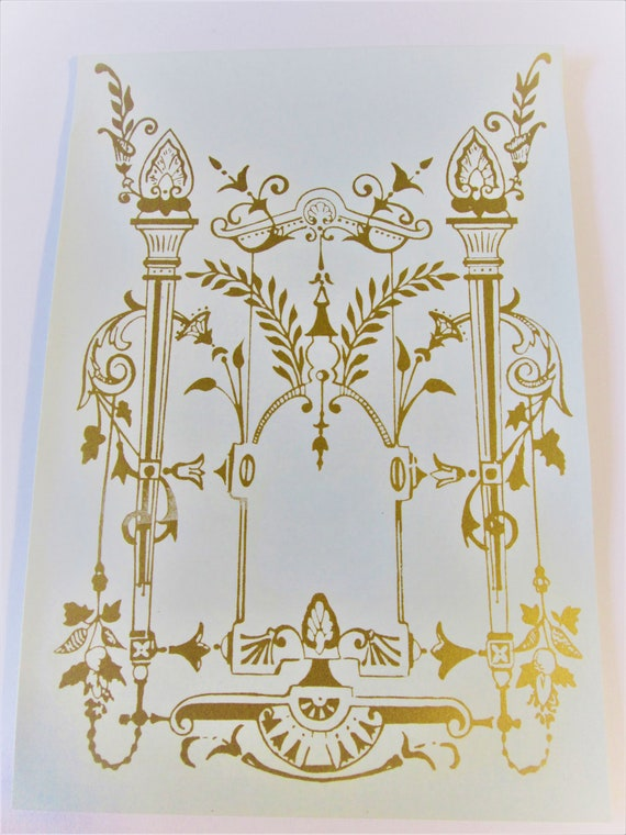 """8"""" x 6"""" New Gold Fancy Kitchen Clock Glass Decal for your Clock Projects - Art - Stk #408"""