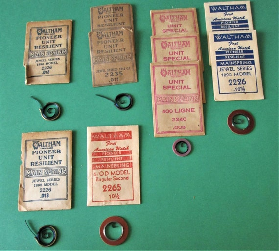 10 Assorted intact Vintage Waltham Company Watch Mainsprings for your Watch Projects & Etc..Stk #729