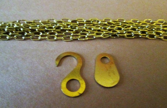 "1 70"" Brass Plated Clock Chains with End Pieces for your Clock Projects, Steampunk Art, Jewelry Making and Etc.."