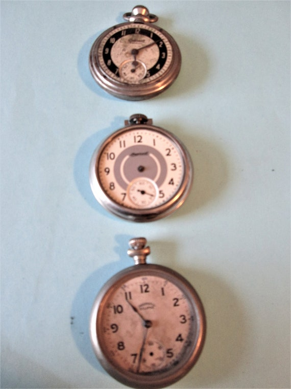 3 Assorted Old Ingersoll Watch Co. Partial Pocket Watches for Repair/Parts  Stk# W62