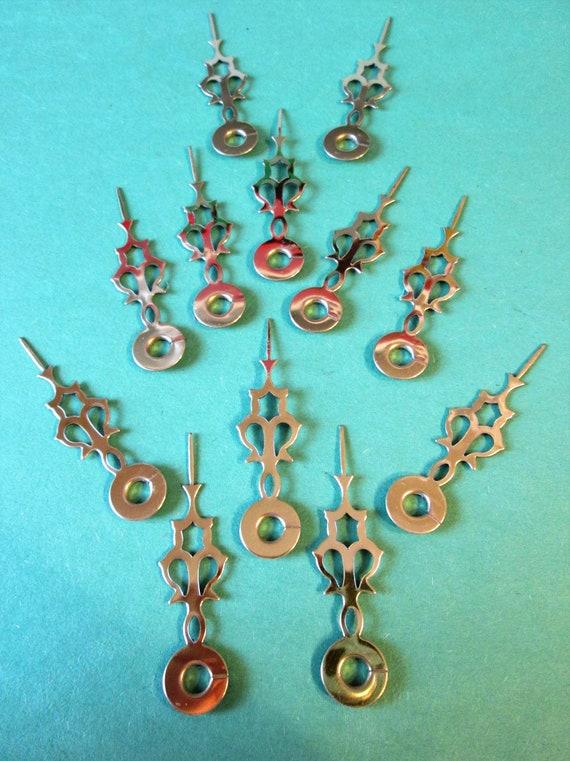 "12 New Shiny Brass Plated Steel Serpentine Design Clock Hour Hands - Make Clocks, Jewelry, Steampunk Art and Etc..2 1/4"" Stk#158"
