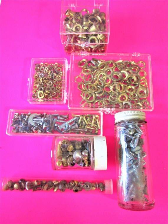 Big Lot of Various Solid Brass & Steel Hardware Pieces for Antique / Vintage Clocks / Clock Cases - Steampunk Art - Jewelry Crafts  Stk# 533