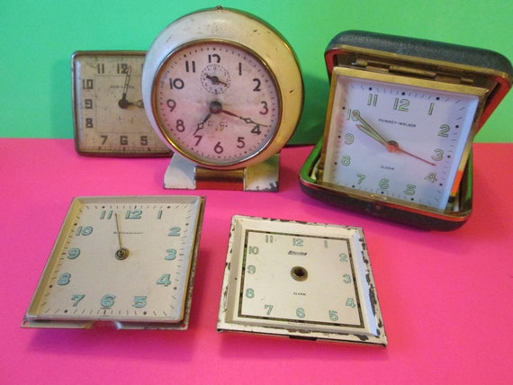 5 Assorted Vintage Partial Alarm Clocks for Parts, Repair, Steampunk Art & Etc..