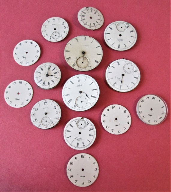 15 Porcelain Watch Dials with Partial Mechanisims and 9 Small Assorted Watch Dials for your Watch Projects, Steampunk Art and Etc. Stk #352