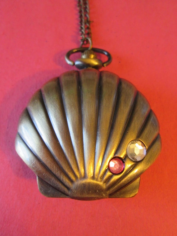 "1 New Clam Shell With Bling Quartz Pocket Watch Pendant - Bronze Colored Metal with 32"" Chain - Great Gift!"