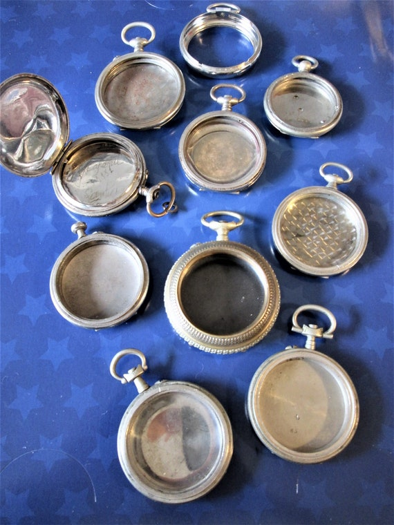 10 Assorted Antique & Vintage Partial Pocket Watch Cases for your Watch Projects - Steampunk Art  - And Etc..Stk# W47
