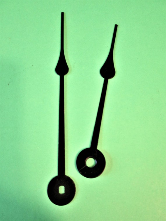 """1 Pair of Black Painted Steel Spade Design 4 7/8"""" and 4"""" Clock Hands for your Clock Projects  Stk# 943"""