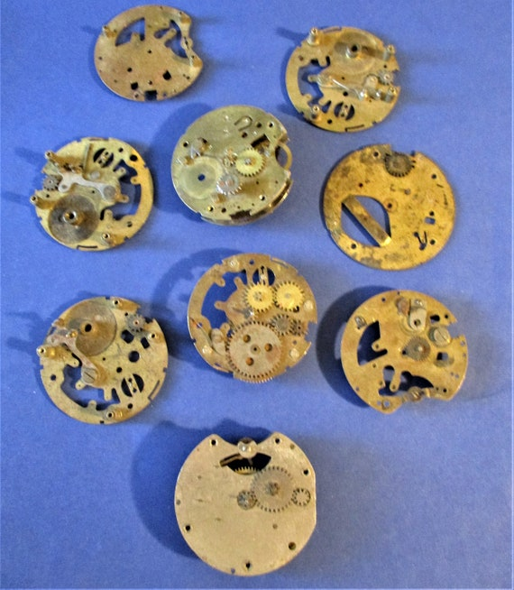 9 Assorted Vintage Brass and Steel Pocket Watch Parts for your Watch Projects - Steampunk Art & Etc... Stk# W98