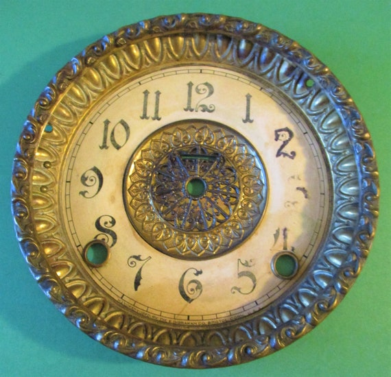 """5 3/4"""" Wide Antique E. Engraham Clock Co. Solid Pressed Brass Double Front Bezel with Paper Dial (No Glass) Stk# 842"""