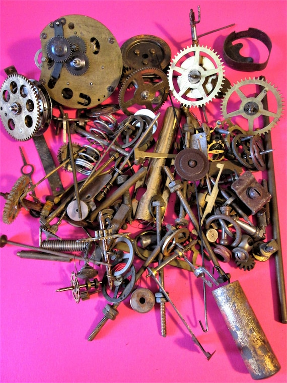 Nice Steampunkers Lot of Brass, Steel and Chrome Antique Clock Parts & Hardware for Your Clock Projects - Crafts Stk#970
