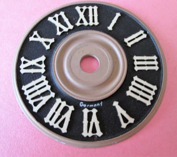 "3 1/8"" Plastic German Made Dark Brown and Tan Cuckoo Clock Dial with 1/2"" Roman Numerals for your Clock Projects - Crafts"