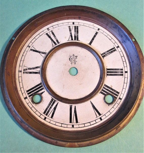 """Old and Worn Vintage Waterbury Clock Co. 6 1/2"""" Paper on Pressed Tin Clock Dial for your Clock Projects, Steampunk Art. Stk#610"""