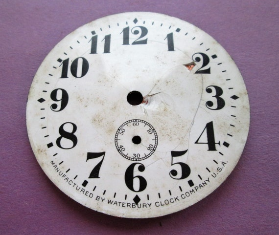 "1 Small 2 5/8"" Porcelain Waterbury Clock Co. Dial for your Clock Projects, Steampunk Art..."