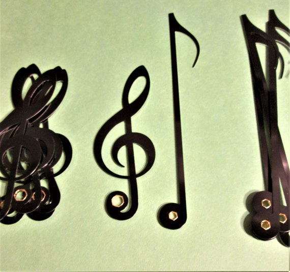 24 Pairs of New Shiny Black Aluminum Musical Note Design Clock Hands for your Projects - Steampunk Art - Scrapbooking and Etc.