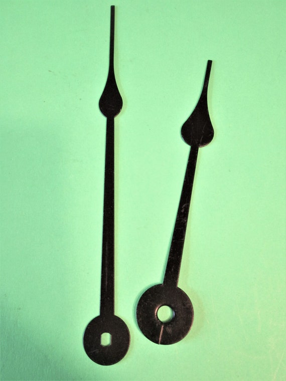 """1 Pair of Black Painted Aluminum 5 3/4"""" and 4 1/4"""" Spade Design Clock Hands for your Clock Projects and etc.. Stk# 949"""