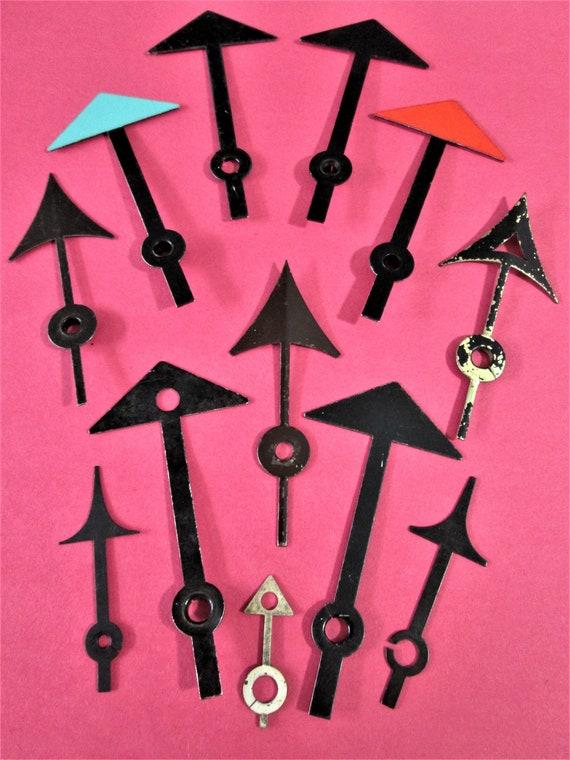 12 Assorted Vintage Mixed Metals Arrow Design Clock Hands for your Clock Projects - Art - Stk# 255