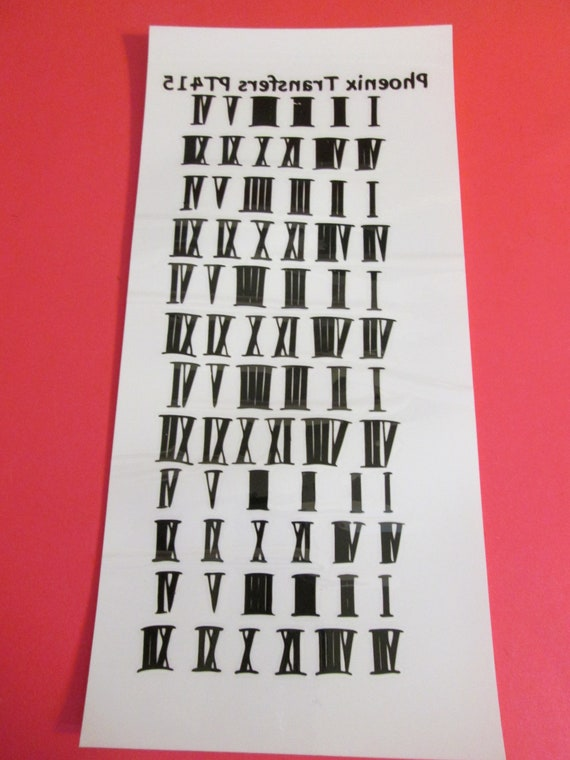 """Vintage Plastic Black Roman Numeral Transfers 1/2"""" Tall 72 Numerals Total for your Clock Projects - Crafts"""
