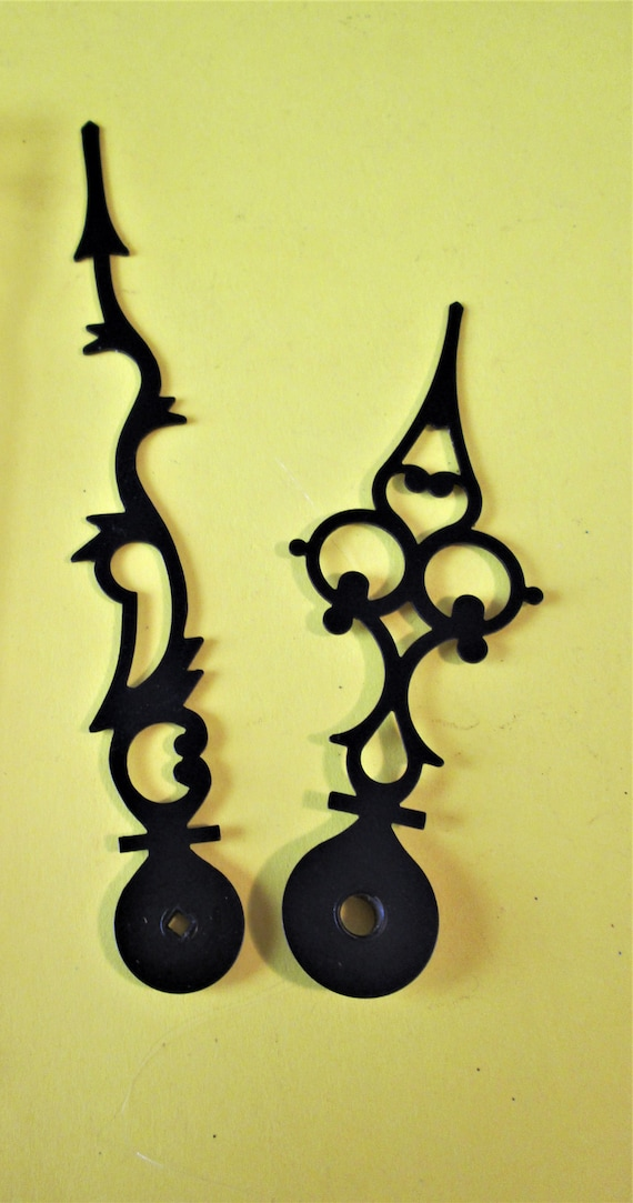 1 Pair of Vintage Black Painted Solid Brass Serpentine Style Clock Hands for your Clock Projects, Jewelry Making - Steampunk Art Stk#445