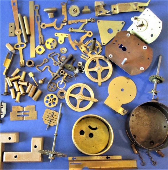 Lot of Solid Brass and Steel Assorted Antique & Vintage Clock Parts and Misc. Items for your Clock Projects, Steampunk Art and Etc. Stk# 101