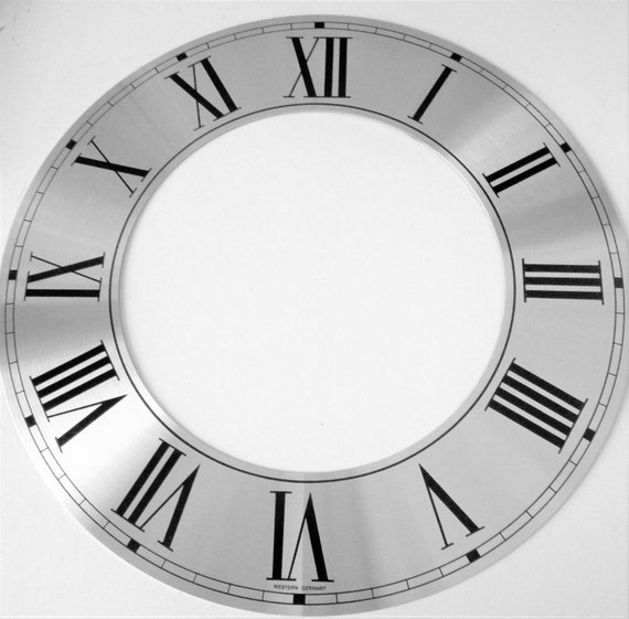 "9 3/4"" New German Made Aluminum Adhesive Backed Clock Ring with Roman Numerals for your Clock Projects, Crafts & Etc..."