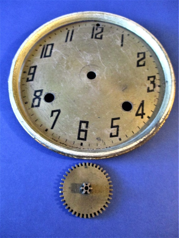 """5 3/4"""" Old and Worn New Haven Clock Dial - Solid Brass  Tin Bezel  - for your Clock Projects - Art - Stk# 167"""
