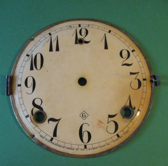 "5 1/2"" Antique Gilbert Clock Dial - Paper on a Steel Pan - for your Clock Projects - Art - Stk# 787"