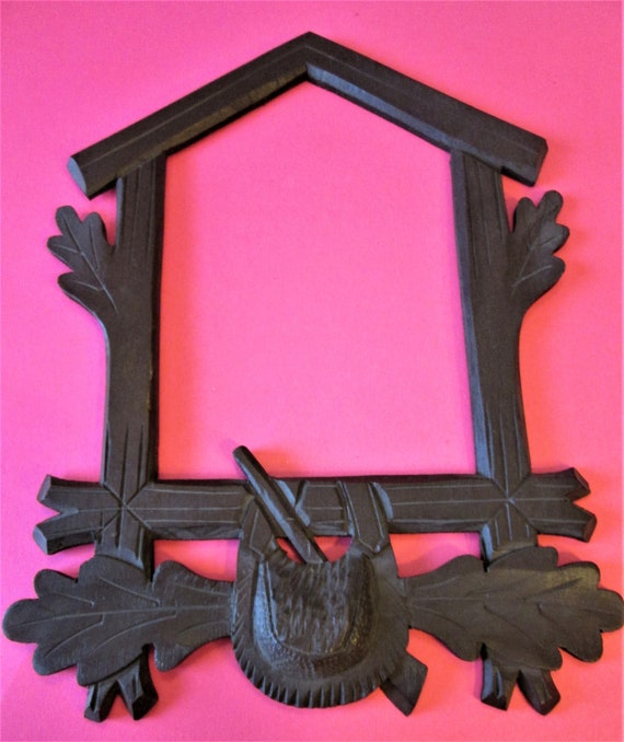1 Reproduction Dark Stained Wood Hunting Pouch Design Cuckoo Clock Frame for your Clock Projects - Crafts