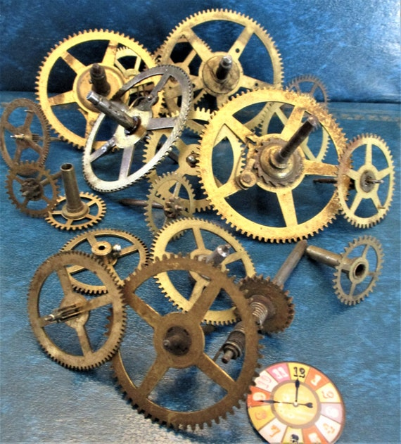 20 Assorted Large and Medium Sized Antique Clock Wheels With Other Parts Attached for your Clock Projects - Steampunk Art - Stk# 402