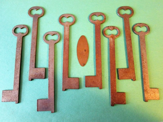 """8 Super Large 5 1/8"""" Vintage Steel Keys  for your Collections - Steampunk Art - Jewelry Making and Etc..."""