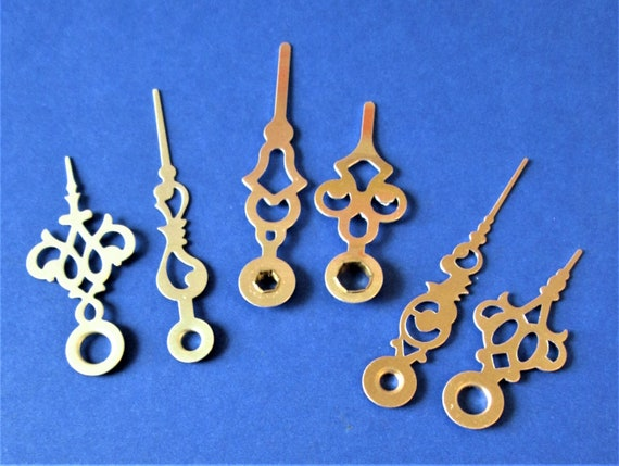 3 Pairs of Gold Colored Fancy Aluminum Clock Hands for your Clock Projects, Jewelry Making and etc..Stk#139