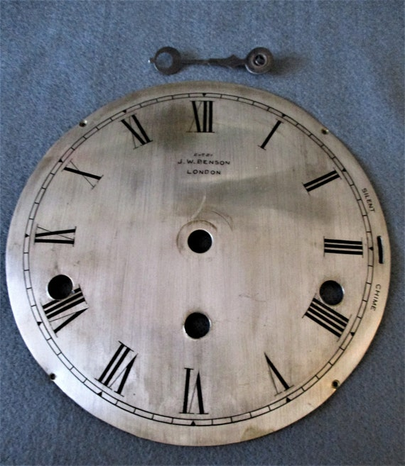 """6 1/8"""" Vintage J.W. Benson Thick Solid Brass with Brushed Silver Clock Dial Stk# 849"""