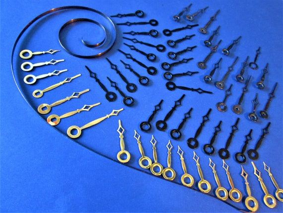 56 Assorted Vintage Small Diamond Design Steel and Brass Plated Clock Hands for your Clock Projects - Jewelry Making and Etc..Stk# 425