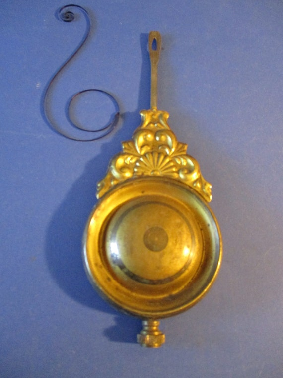 """Original Old & Worn Fancy Pressed Solid Brass, Cast Metal and Steel Clock Pendulum 4.7 Ounces 6 1/4"""" For your Clock Projects - Art Stk# 110"""