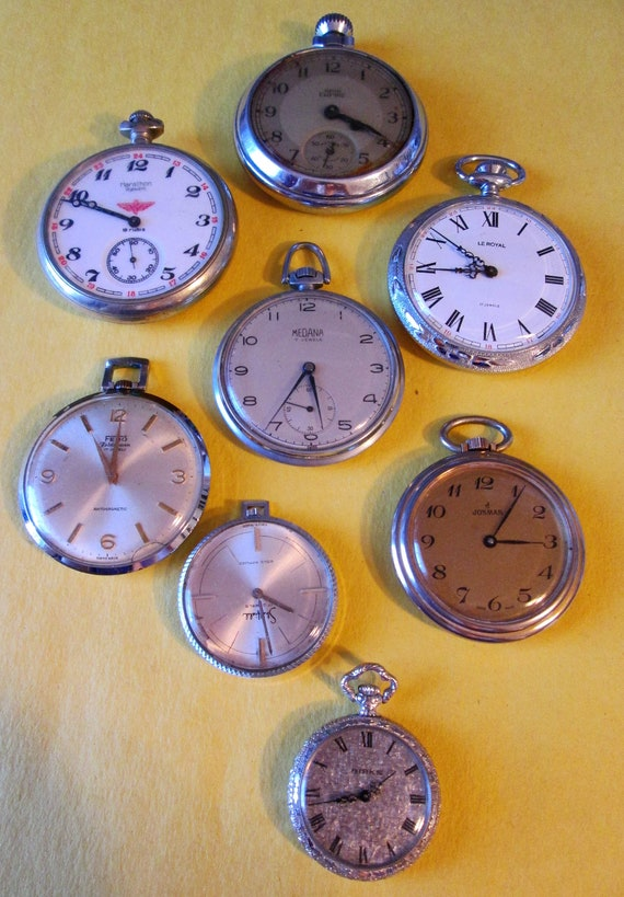 8 Assorted Vintage Open Face Style Pocket Watches for Parts/Repair - Steampunk Art -