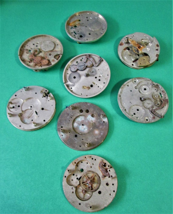 8 Assorted Old Rusty & Dusty Steel + Brass Pocket Watch Parts for your Watch Projects, Steampunk Art and Etc..Stk# W37