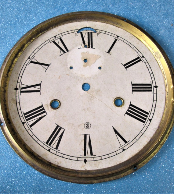 """Old and Faded Seth Thomas Paper on Metal Pan 7 1/4"""" Clock Dial for your Clock Projects - Art - Stk# 381"""