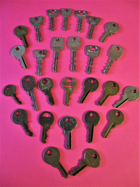 27 Old and Worn Brass and Steel Keys Stk# K82