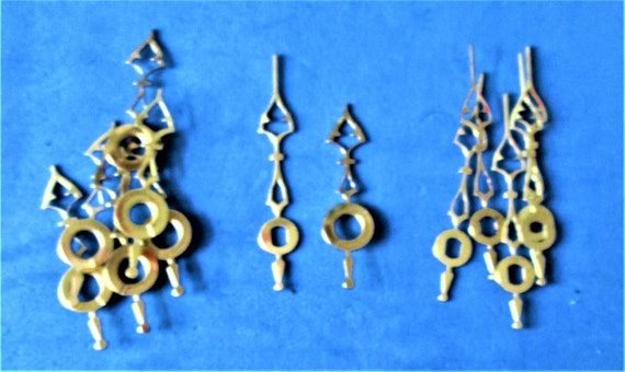 10 Pairs of Small Shiny Brass Plated Steel Clock Hands for your Clock Projects, Jewelry Making Stk#894