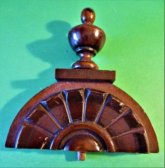 """5 3/4"""" Tall Old Carved Dark Brown Stained Wood Clock Topper Ornament 5 5/8"""" Wide"""