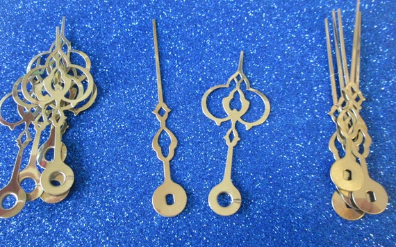 6 Pairs of Fancy Shiny Brass Plated Clock Hour Hands for your Clock Projects, Jewelry Making,