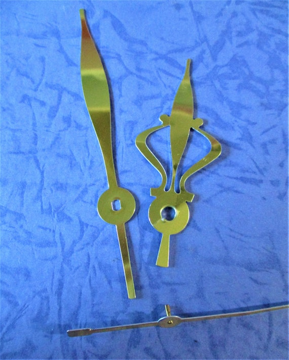 1 Pair of Vintage Shiny Brass Plated Aluminum Cut Out Design Clock Hands for your Clock Projects - Jewelry Making Stk#509
